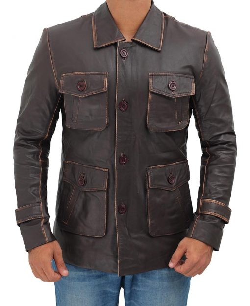 Distressed Field Leather Jacket