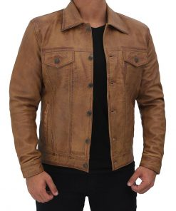 Distressed Tan Trucker Leather Jacket