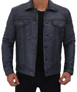 Grayish blue leather trucker jacket