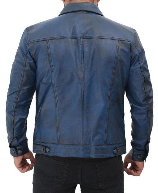 Lambskin Blue Trucker Jacket