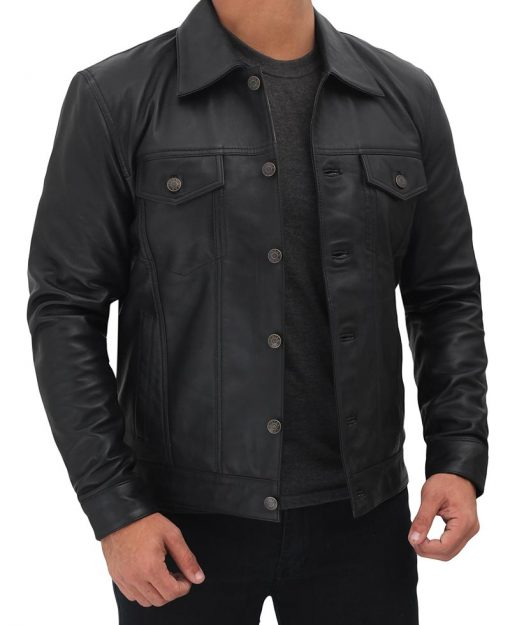 Leather Trucker Jacket Black