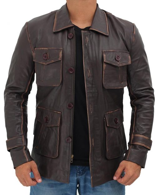 Leather Trucker Jacket Rusty Brown