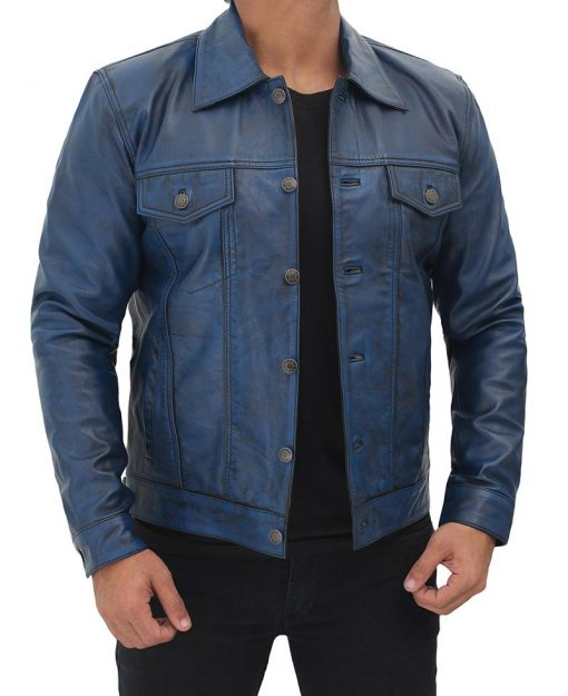 Men blue trucker jacket