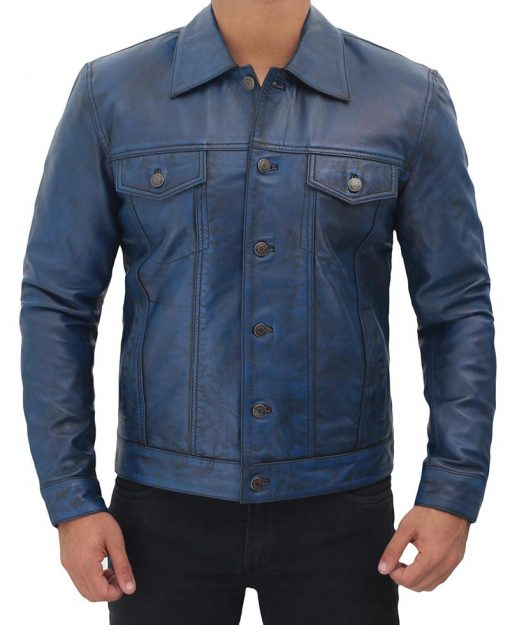 Mens Blue Leather Trucker Jacket