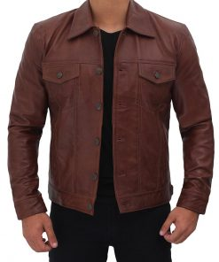 Mens Brown Trucker Jacket