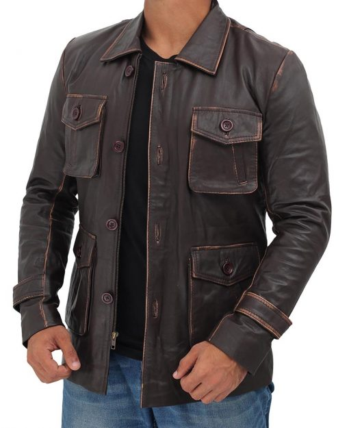 Mens Leather Jacket Brown