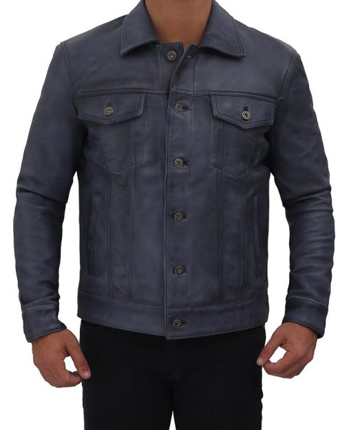 blue leather jacket real leather