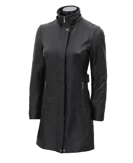 3 4 length winter leather coat