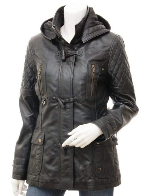 3 4 length winter leather quilted coat women