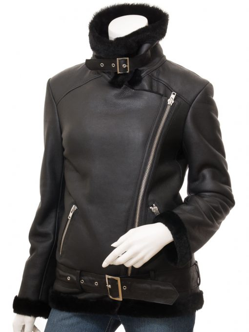 Asymmetrical Shearling Leather Jacket womens black