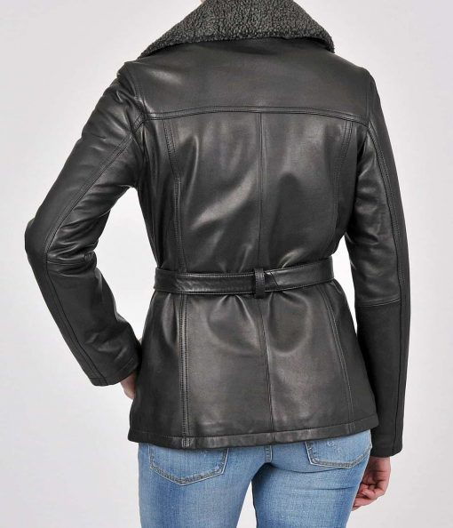 Belted Leather womens Jacket