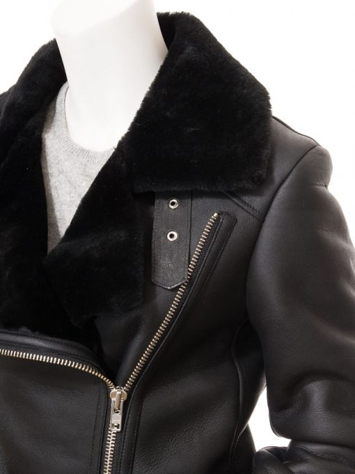 Black Shearling Biker Jacket Womens