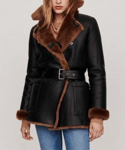 Black Shearling Leather 3 4 Coat