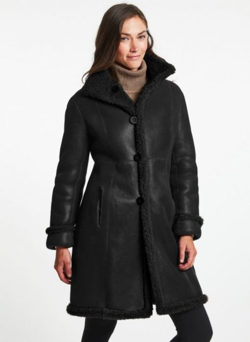 Black Shearling Leather 3 4 length Coat