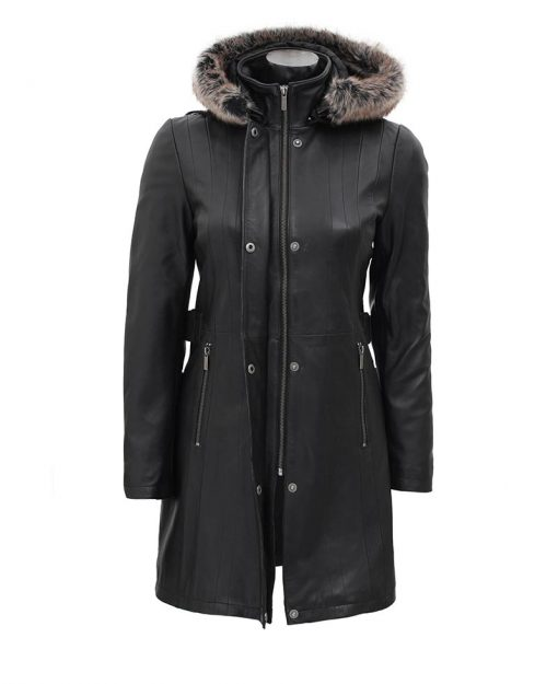 Black leather coat women with fur collar
