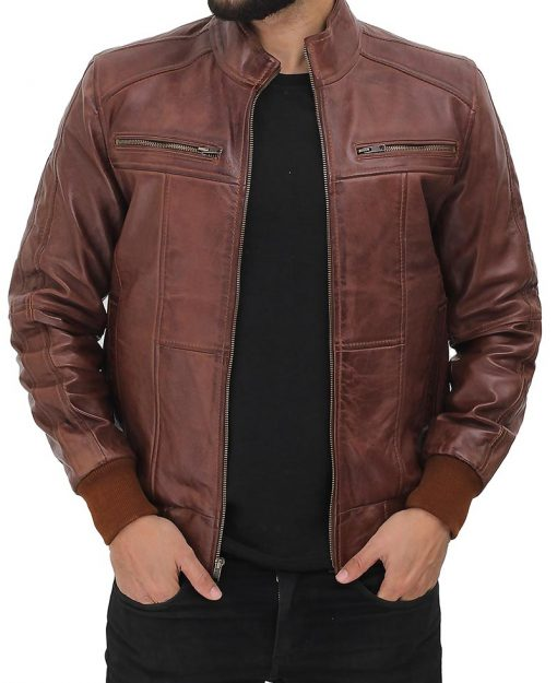 Brown Cut out leather jacket