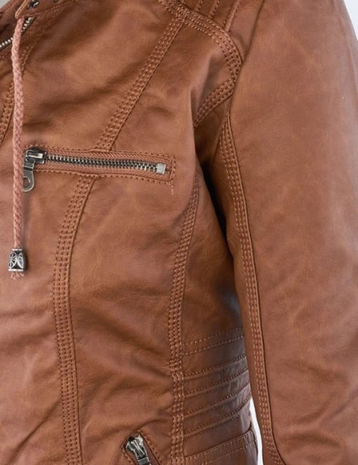Brown hooded leather jacket with hood