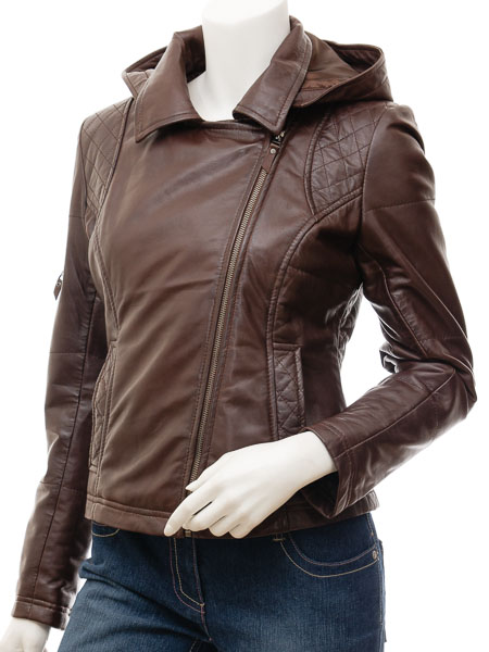 Brown quilted leather jacket with hood womens