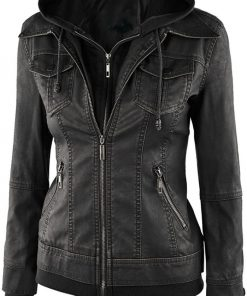 Fitted leather jacket with hood distressed black