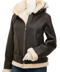 Hooded Leather Shearling Jacket