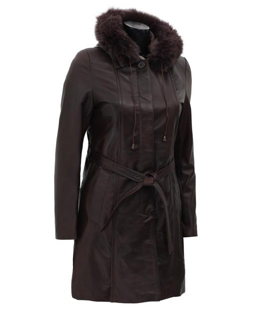 Hooded fur collar leather coat women