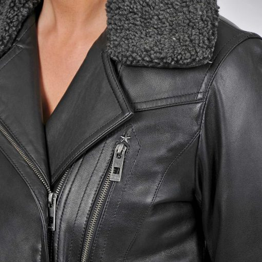Leather Jacket With Shearling Collar Womens