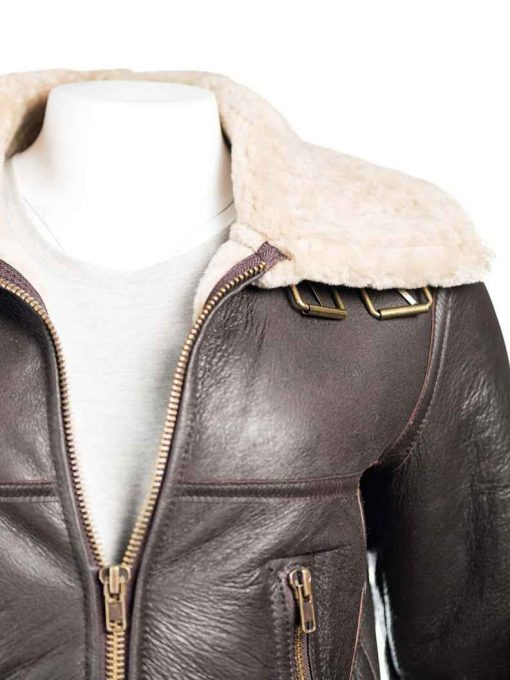 Leather Shearling Aviator Jacket brown