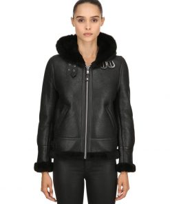 Leather Shearling Aviator Jacket womens