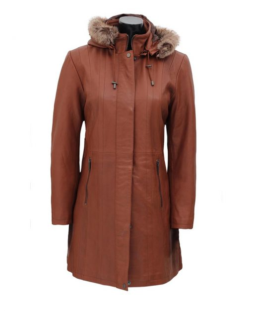 Leather winter coat with Fur hood