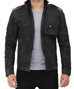 Men black biker distressed leather jacket