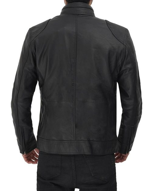 Real leather black motorcycle leather jacket