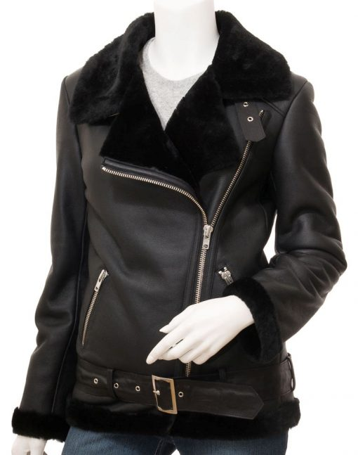 Shearling Biker asymmetrical Jacket