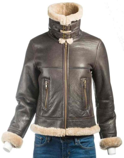 Shearling Brown Leather women Jacket