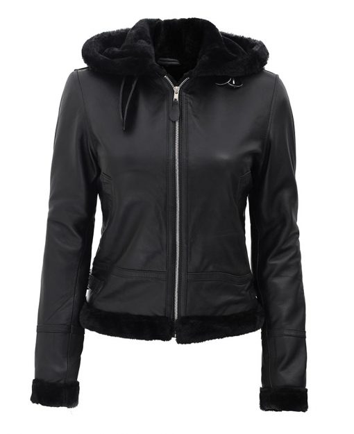 Shearling Leather Jacket With Hood Womens