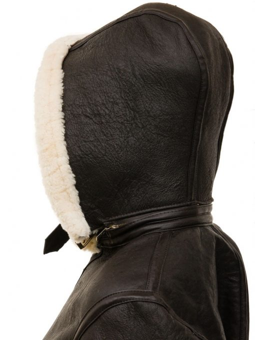 Shearling Leather Jacket with hood Dark Brown