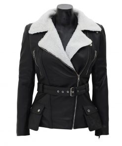 Shearling motorcycle jacket womens black