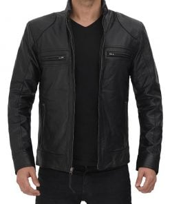 Slim fit lambskin leather biker jacket black