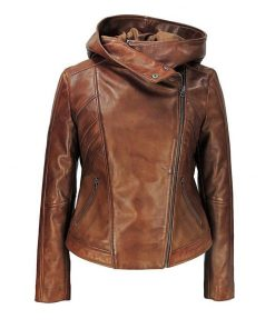 Vintage brown hooded leather jacket women
