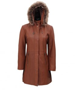 Women leather coat with shearling hood