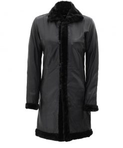 Women long shearling leather black coat