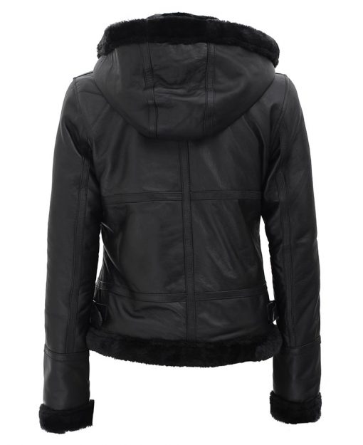 Womens Black Hooded Shearling Jacket