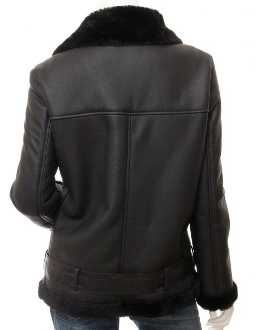 Womens Black Shearling Lined Jacket
