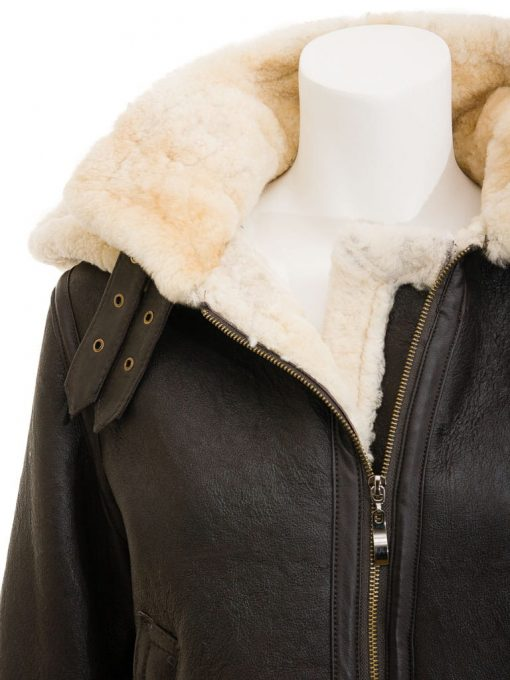 Womens Leather Flight Jacket with hood