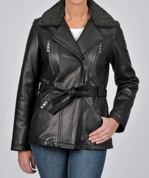 Womens Shearling Collar Leather Jacket