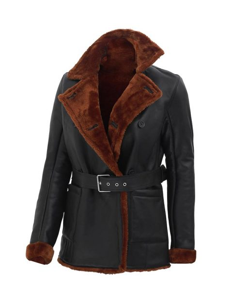 Womens black shearling winter leather jacket