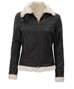 Womens dark brown shearling leather jacket B3