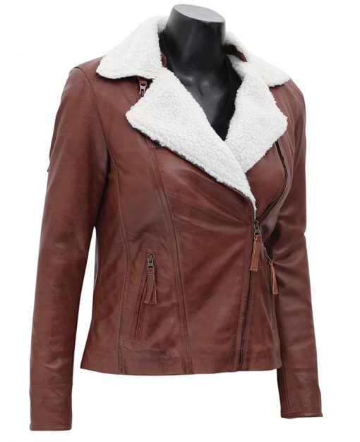 Womens fur collar leather jacket