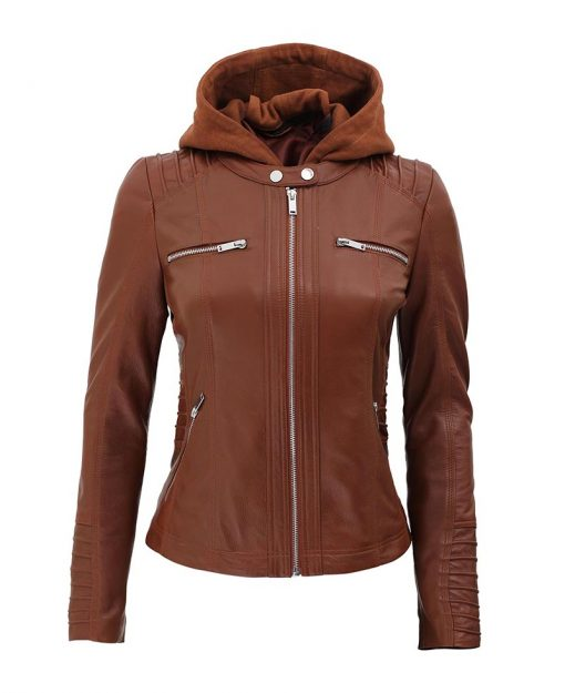 Womens hooded brown leather jacket