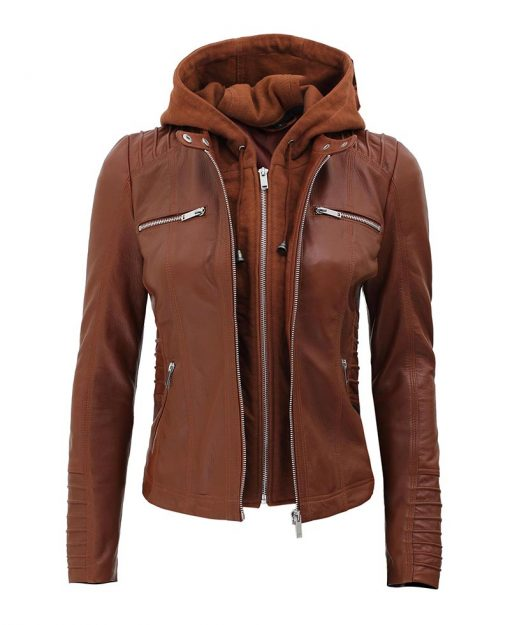Womens leather jakcet with hood