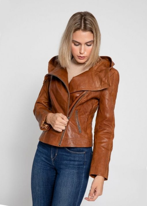 asymmetrical biker jacket women with hood
